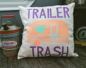 Custom Trailer Trash Throw Pillow