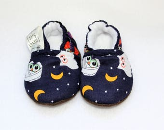 Halloween Owls Soft Sole Baby Shoe, Baby Shower gift, Moccasins