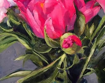 peony bud // peony painting // pink peonies // peony art // original art // pink peony painting // fine art // pink flower painting