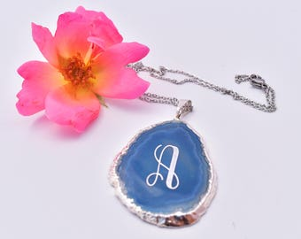 Agate Necklace, Custom Geode Necklace, Agate Slice Necklace, Engraved Agate Pendant, Agate Slice Jewelry, Monogram Necklace, Personalized