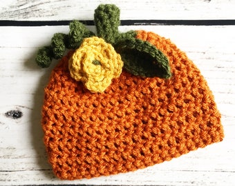 Crochet Pumpkin Hat   baby girl pumpkin hat, flower pumpkin hat, fall baby gift, newborn pumpkin hat, girly pumpkin hat, baby pumpkin gift