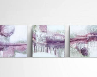 small abstract, collage,textured, 10x10, green and purple, contemporary art, set of 3, modern art, unique wall art , abstract painting