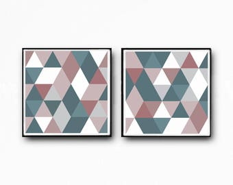 Squre abstract, , blush pink , white , teal, pink, mint, large print, gray, set of 2, Triangles print, Scandinavian print, Office decor