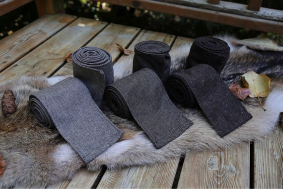 Viking 3 Pairs Gray Wool Leg Wraps Winingas Vindingr Wickelbander vaf-spjôrr, Garb, Norse, SCA, LARP, HEMA, Anglo Saxon, Armor, Reenactment