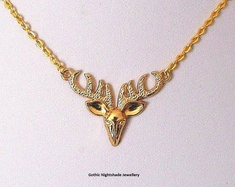 Golden Stag Head Pendant Clavicle Necklace