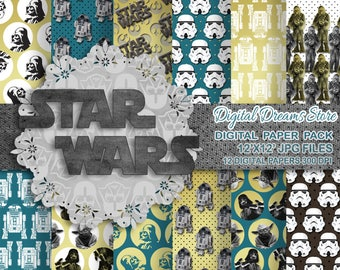 "Star Wars paper: ""STAR WARS"" digital paper patterns, Scrapbooking paper, Star Wars instant, Seamless pattern, Darth Vader, yoda, jedi"