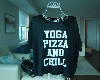 Yoga Pizza and Chill Flowy Tshirt (FREE SHIPPING)- yoga top, tops and tees, funny tshirt, netflix and chill, athleisure clothing, soft tee