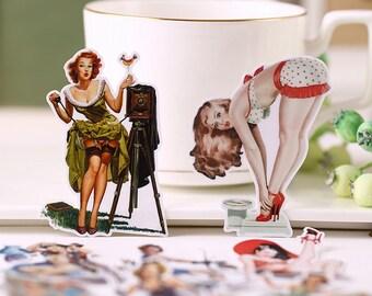 Vintage Girls #2 Flake Stickers (14 pcs) // N46 // Die Cut Stickers // Planners //  Laptop Stickers  // Scrapbooking Essentials