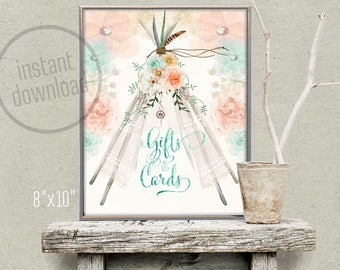Tee Pee gifts and cards table decoration sign 8x10 boho watercolor feathers. Instant download! 130CMPEX 131CMPEX 132CMPEX 152CMPEX 153CMPEX