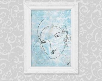 Tender portrait of DIN A6 painting drawing