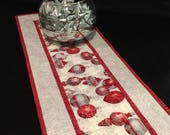 "39"" Long Silver and Red  Christmas Runner, Christmas Ornaments Decor, Robert Kaufman Holiday Flourish 9 Silver Ornaments, Quiltsy Handmade"