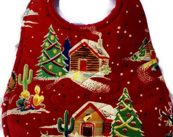 Country Christmas Baby Bib, Quilted Christmas Baby Bibs, Southwest Living Christmas, Quiltsy Handmade, QQQ Team