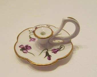 HAMMERSLEY Fine Bone China - Minature Candlestick holder - Victorian Violets - Made in England