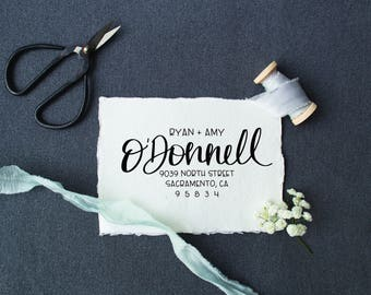 Modern Calligraphy Hand Lettered Address Stamp, Hand Lettered Address Stamp, Rubber Stamp or Self-inking