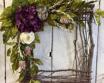 Square Wreath, Square Grapevine Wreath, Everyday Wreath, Year Round Wreath, Front  Door