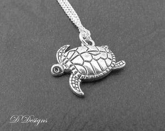 Silver Turtle Necklace, Silver Turtle Pendant, Turtle Charm Necklace, Silver Charm Necklace, Silver Necklace, Trendy Necklace
