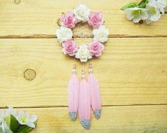 Pink Flower Dreamcatcher: Car Dreamcatcher, Car Accessories for Women, Boho Dreamcatcher, Pink Car Decor, Rearview Mirror Charm