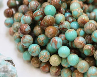Aqua Blue Impression Jasper, 8mm round, gemstone beads, blue gemstone, full strand, jewelry supply
