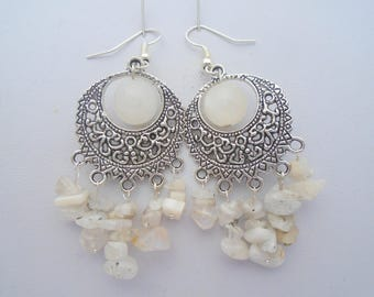 Moonstone Earrings, Chandelier Earrings, White Gemstone Earrings, Moonstone Jewelry, Boho Earrings, gypsy Earrings, Bohemian Jewelry