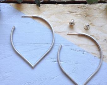 Handmade unusual hoop earrings in recycled silver | Lotus petal earrings | Ethical jewellery | Recycled packaging | Brighton UK.