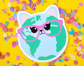 Cute cat vinyl decal | Cat world vinyl sticker | Vinyl Decal laptop | Car Decal | Cat sticker vinyl | Snowboard Decal Crazy cat lady gift