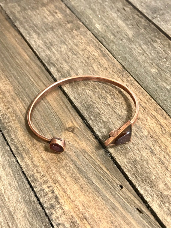 Dark orange/amber sea glass bangle-adjustable copper bangle