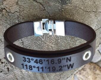 FREE SHIPPING-Latitude Longitude Leather Bracelet,Men Leather Wristband,Engraved GPS Cuff,Personalized Leather Bracelet,Men Leather Bracelet