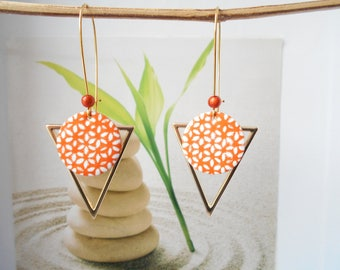 orange white sequin gold earrings