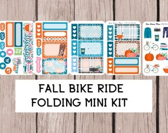 FALL BIKE RIDE Folding Mini Planner Sticker Kit | perfect for all planners | CCf41
