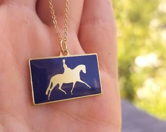 Dressage Horse Pendant Necklace, Navy with Brass