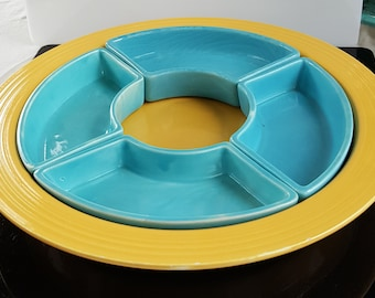 Vintage Original FIESTA Relish Tray - Yellow and Turquoise