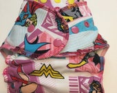 SALE Wonder Woman Cloth Diaper - Serged Hybrid Fitted Diaper Super Hero