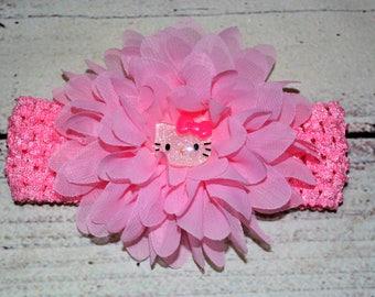 Pink Hello Kitty Headband ,Pink Chiffon Flower Headband ,Baby Headband , Newborn Headband , Hello Kitty Headband , Hello Kitty Hair Bow