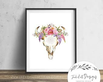 Cow Skull Tribal Floral - Wall Art Print