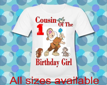 Easy Iron On Transfer Paper Any Saying Cousin of the Birthday Girl Sneezy Dwarf T shirt Transfer Three Sizes Paper Transfer Decal