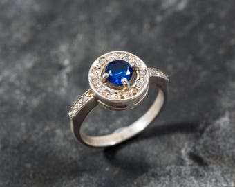 Blue Sapphire Ring, Created Sapphire, CZ Diamonds, Royal Blue Ring, Bridal Ring, Something Blue, Something Blue Ring, Solid Silver Ring