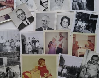 1960s Family Picture Pack, 20 Vintage Photos, Black and White Photography, Vintage Color Photos