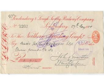 1914 Londonderry & Lough Switty Railway Company Stock Certificate Ephemera, Original