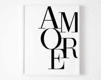 Love Print, Valentines Gift, Love Wall Art Print,  Amore, Anniversary Gift, Valentine's Gift, Bedroom Wall Art, Love Poster