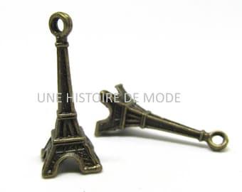 2 charms Eiffel Tower Paris bronze 30 x 9 mm - Eiffel Tower charm - Eiffel Tower pendant bronze