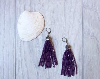 Violet Beaded Tassel Earrings