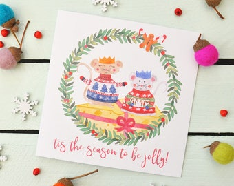 Christmas Card - Jolly Mice - Tis the season to be Jolly - Cute Character Greeting Card - Christmas Jumper - Mittens - Cheese - Wreath