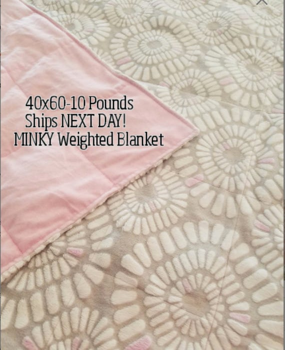 Weighted Blanket, 10 Pound, Pink and Gray Embossed Minky, 40x60, READY TO SHIP, Twin Size, Next Business Day Ship