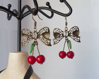 rockabilly cherries and bow earrings pinup tattoo boucles d'oreilles cerises et noeud tatouage