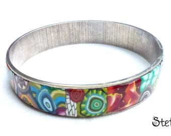 """Multicolore2"" polymer clay silver metal bracelet"