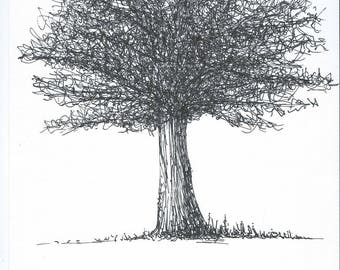 Tree in black marker