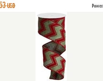 On Sale RIBBON - Wired Ribbon - Flocked Ribbon - Red Ribbon - Wreath - Green Ribbon  - Floral - Chevron Ribbon - RG1082
