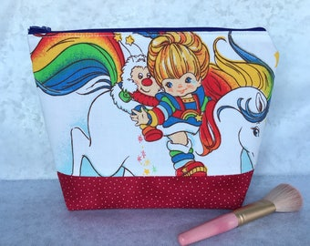 Rainbow Brite Vintage Upcycled 80s Color Kids Makeup Bag Cosmetic Pencil Pouch Starlite Stars Sprite Girls gift Rainbowland Knitting