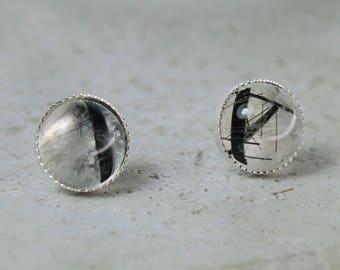 Black Rutile Studs Sterling Silver