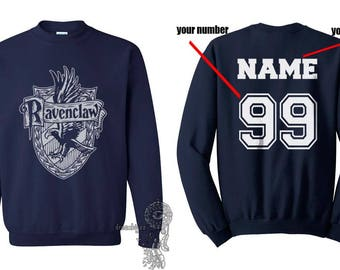 Custom back Ravencl Crest #2 WHITE print on Navy Crew neck Sweatshirt